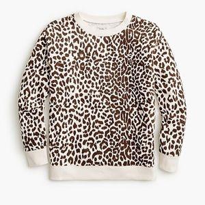 J. Crew Cotton crewneck sweatshirt in leopard